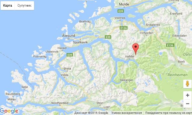 ДТП Норвегія карта туристи