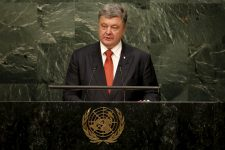 Petro Poroshenko, President of Ukraine addresses a plenary meeting of the United Nations Sustainable Development Summit 2015 at the United Nations headquarters in Manhattan, New York September 27, 2015. More than 150 world leaders are expected to attend the three day summit to formally adopt an ambitious new sustainable development agenda, according to a U.N. press statement. REUTERS/Mike Segar