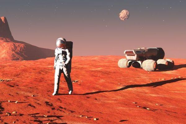 19423472 - scene of the astronaut on mars