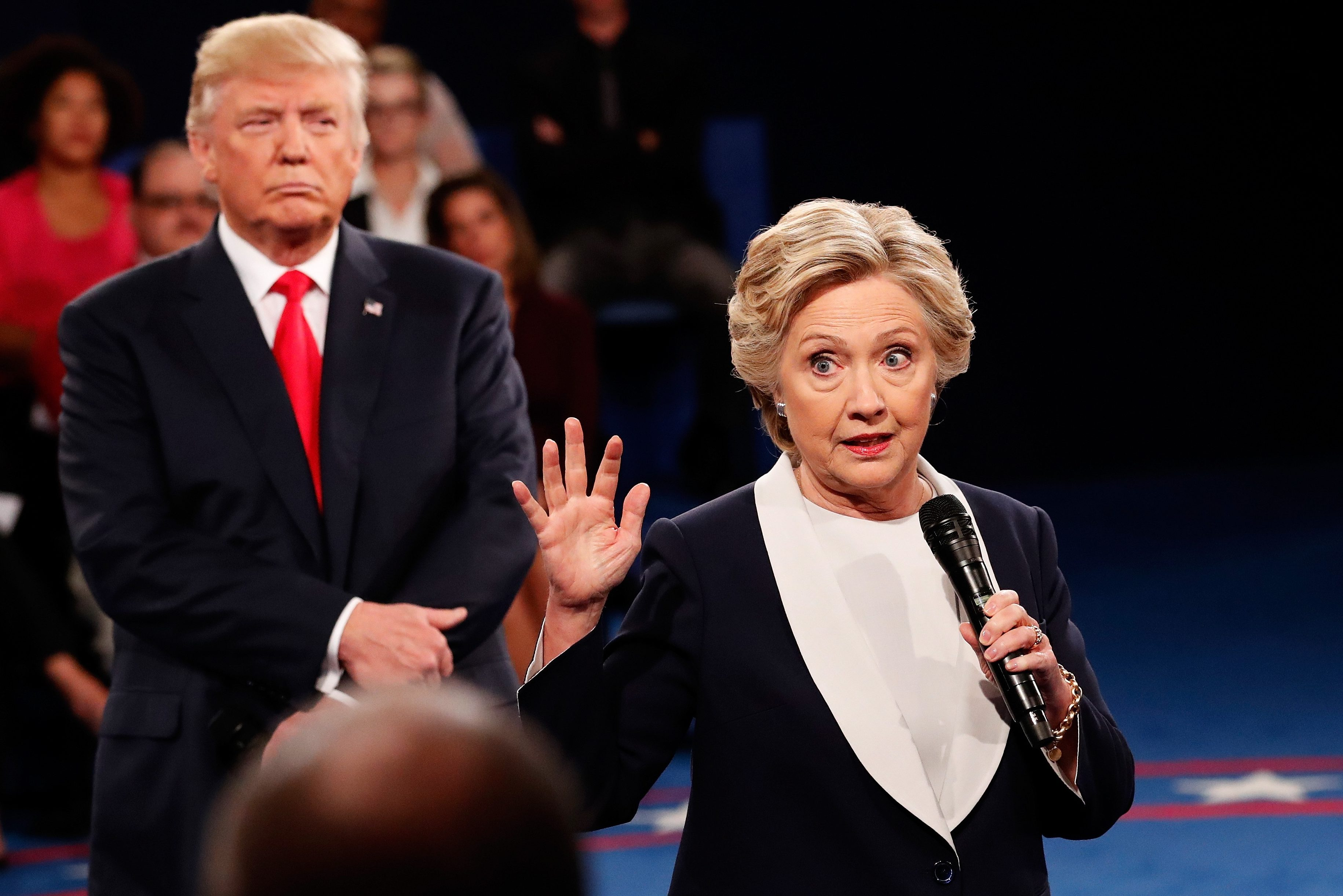 during the town hall debate at Washington University on October 9, 2016 in St Louis, Missouri. This is the second of three presidential debates scheduled prior to the November 8th election.