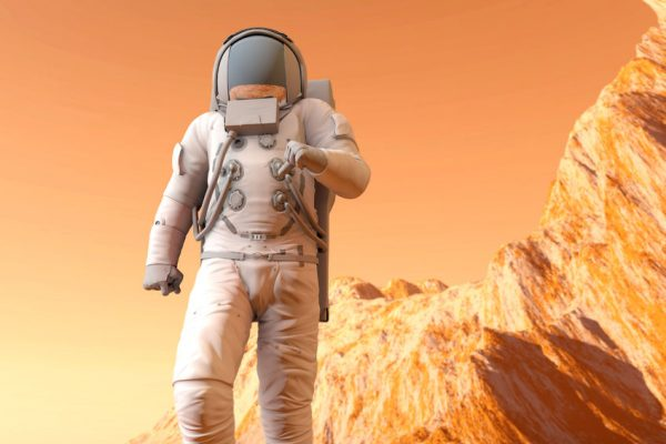 24202903 - a astronaut walking on the surface of mars. 3d illustration.