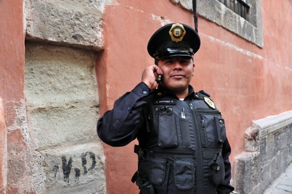 46257007 - mexico city - feb 23:federal police officers on duty on february 23 2010 in mexico city, mexico.the federal police commission to ensure peace and public order and to fight the threat of drug cartels.