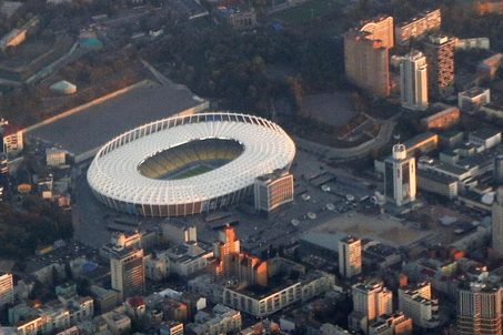 October 18, 2016 - On the photo made from the airplane on October 18, 2016, the Olympic Stadium is seen the day before the group match of the Champions League between Dynamo and Benfica. The finals of the Champions League will take place on this stadium in 2017. (Credit Image: Global Look Press via ZUMA Press)
