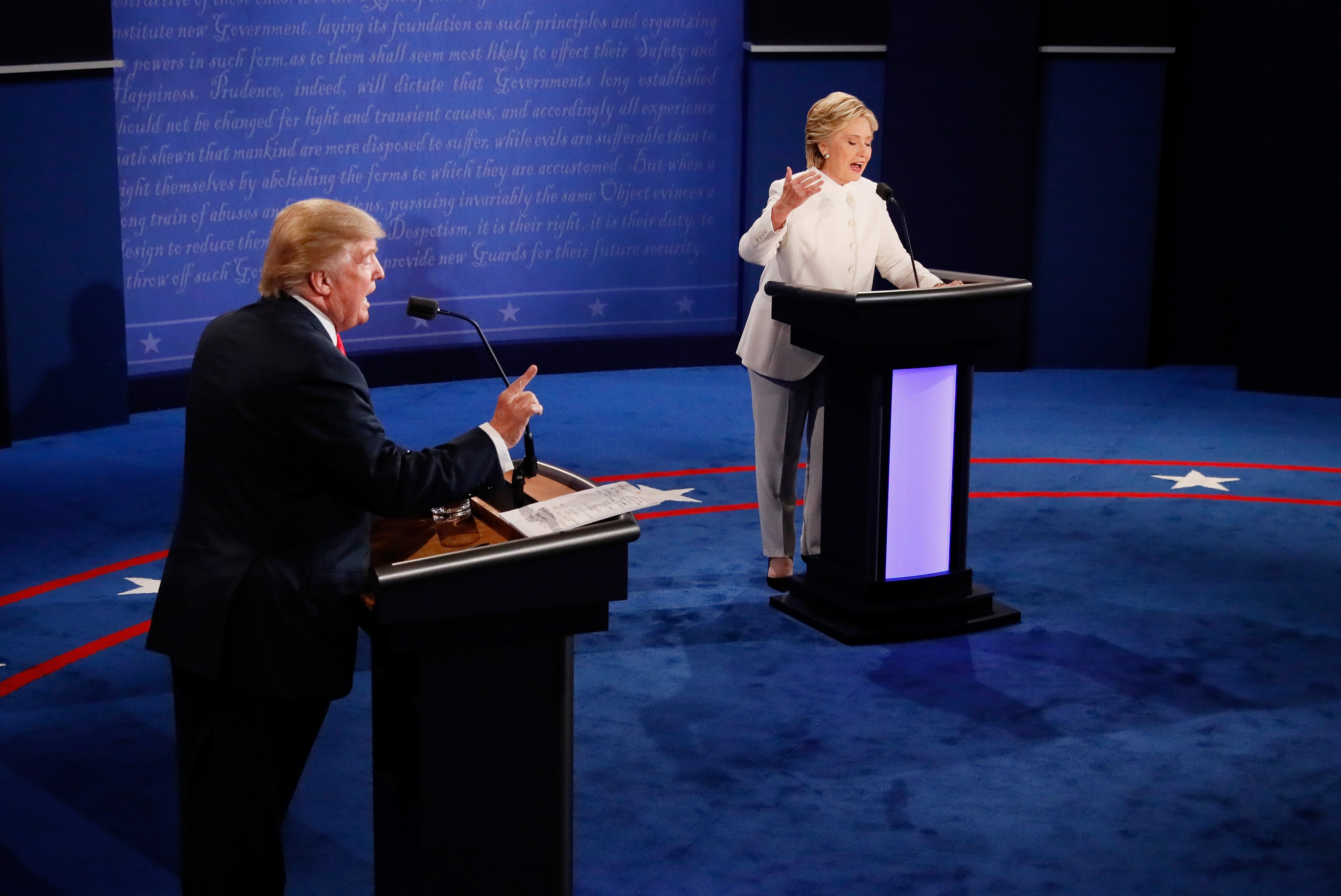 LAS VEGAS, NV - OCTOBER 19:  Democratic presidential nominee former Secretary of State Hillary Clinton (R) debates with Republican presidential nominee Donald Trump during the third U.S. presidential debate at the Thomas & Mack Center on October 19, 2016 in Las Vegas, Nevada. Tonight is the final debate ahead of Election Day on November 8.  (Photo by Pool/Getty Images)