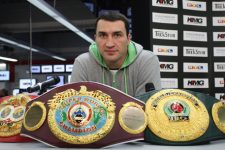 World heavyweight champion Wladimir Klitschko poses during a joint press conference with his challenger Hasim Rahman (not in picture) of the US on December 8, 2008 in Ludwigshafen, western Germany. Klitschko will defend his IBF and WBO heavyweight titles against Hasim Rahman on December 13, 2008. Rahman, 35, is most famous for knocking-out Lennox Lewis in 2001 to win the WBC, IBF and IBO titles, but then lost to Lewis in the re-match seven months later.     AFP PHOTO    DDP/THOMAS WIECK    GERMANY OUT (Photo credit should read THOMAS WIECK/AFP/Getty Images)