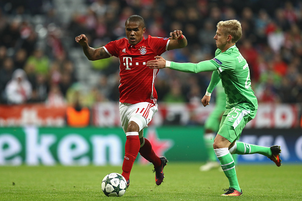 of Muenchen battles for the ball with of Eindhoven during the UEFA Champions League group D match between FC Bayern Muenchen and PSV Eindhoven at Allianz Arena on October 19, 2016 in Munich, Germany.