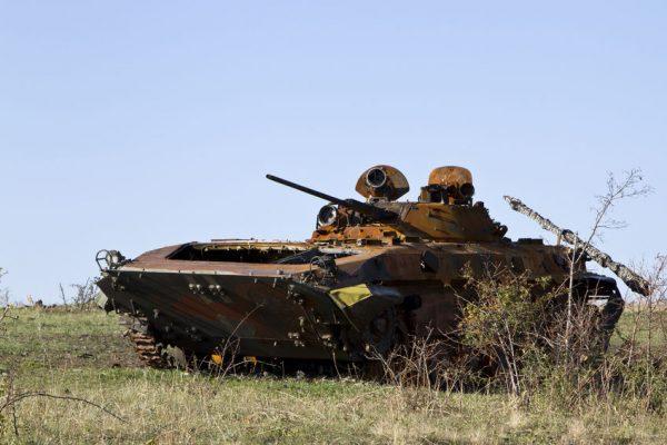33383870 - burned infantry fighting vehicle in the desert near the saur-grave