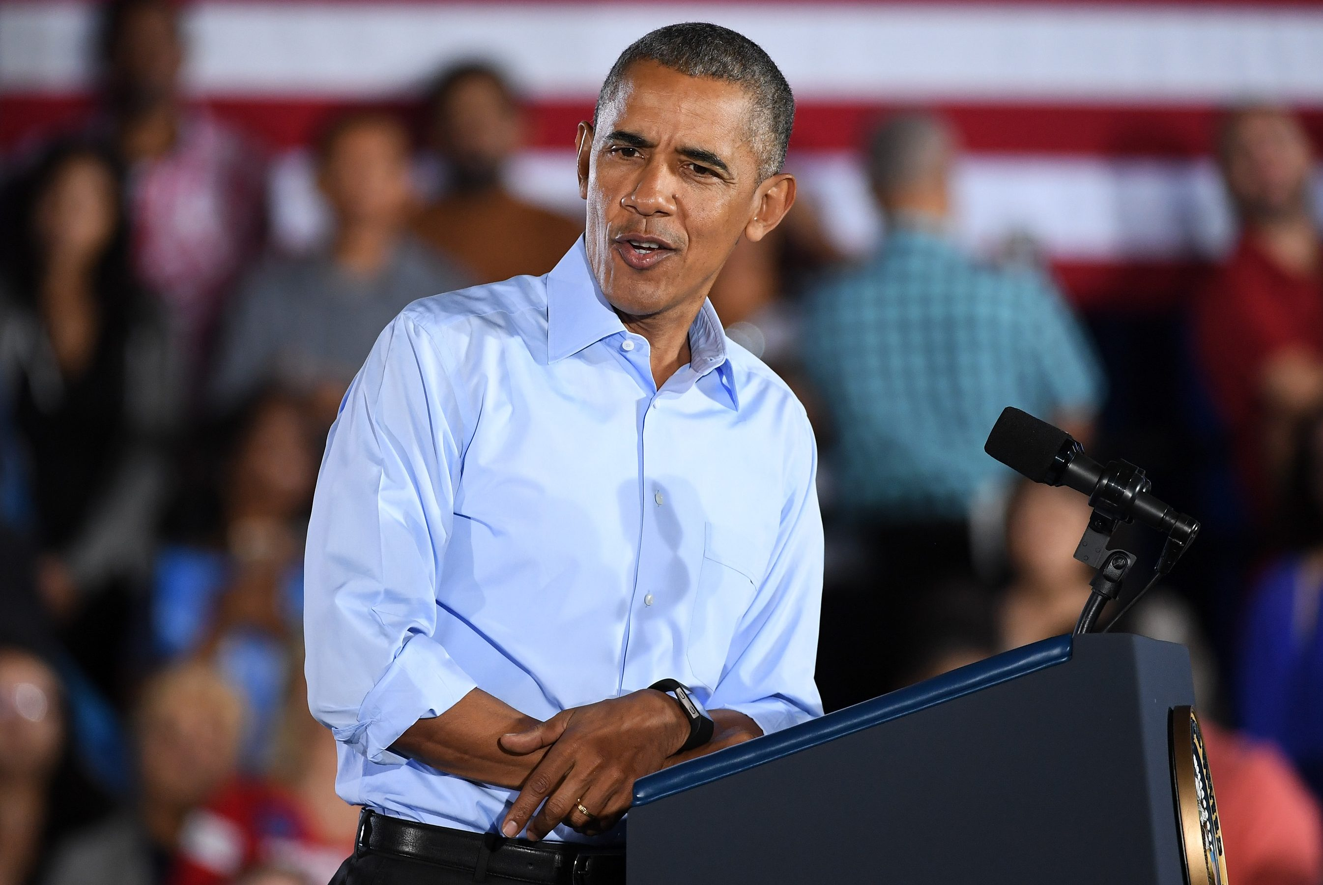 NORTH LAS VEGAS, NV - OCTOBER 23:  U.S. President Barack Obama speaks during a campaign rally for Democratic presidential nominee Hillary Clinton at Cheyenne High School on October 23, 2016 in North Las Vegas, Nevada. Obama urged Nevadans to vote early one day after a record-breaking start to early voting in the swing state with almost 40,000 people going to the polls ahead of the November 8 general election.  (Photo by Ethan Miller/Getty Images)
