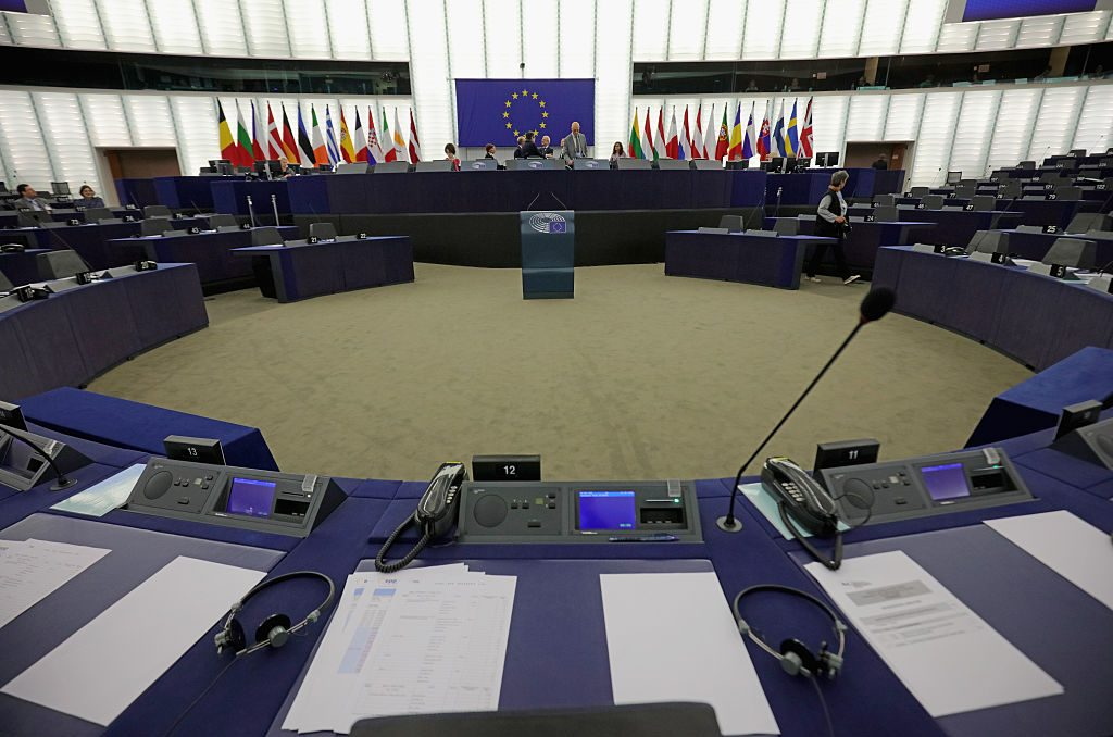 STRASBOURG, FRANCE - MAY 12:  A general view of the inside the European Parliament on May 12, 2016 in Strasbourg, France.  The United Kingdom  will hold a referendum on June 23, 2016 to decide whether or not to remain a member of the European Union (EU), an economic and political partnership involving 28 European countries, which allows members to trade together in a single market and provide free movement across it's borders for cirtizens.  (Photo by Christopher Furlong/Getty Images)