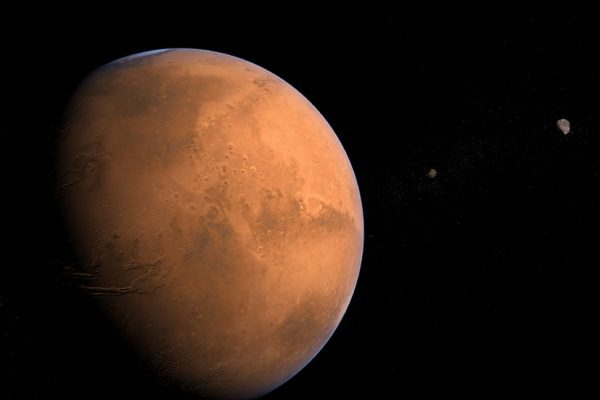 9403016 - planet mars with its moons phobos and deimos