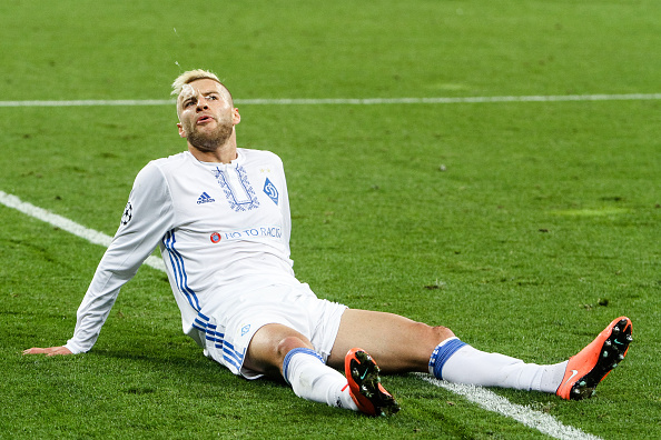 Dynamo Kiev's Ukrainian Andriy Yarmolenko reacts during the UEFA Champions League football match between FC Dynamo and SSC Napoli at the Olympiyski Stadium in Kiev on September 13, 2016. (Photo by Sergii Kharchenko/NurPhoto via Getty Images)