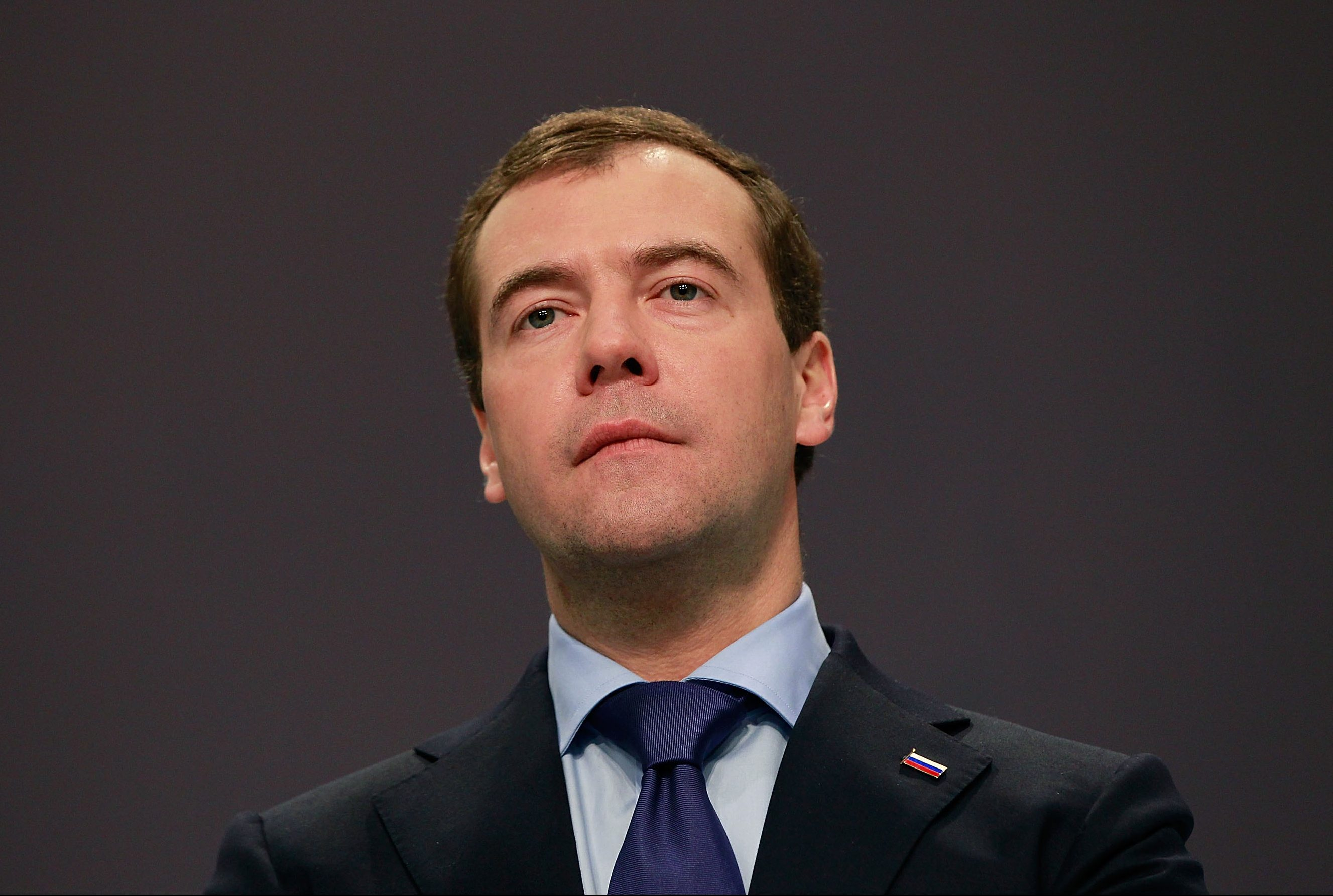 LISBON, PORTUGAL - NOVEMBER 20:  Russian President Dmitry Medvedev speaks to the media during a press conference on day two of the NATO summit at Feira Internacional de Lisboa (FIL) on November 20, 2010 in Lisbon, Portugal. The two day summit will address issues including a new strategic concept for NATO. Britain and the US will also seek an agreement to hand over responsibility for security in Afghanistan to local forces over the next four years.  (Photo by Sean Gallup/Getty Images)