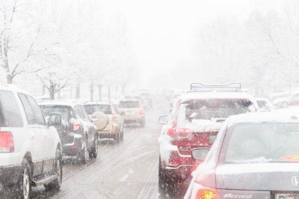 37022003 - denver, colorado, usa-february 25, 2015. road traffic during the snow storm.