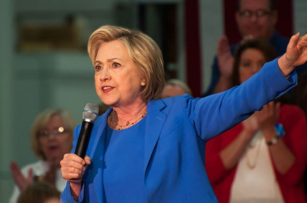 56613225 - louisville, kentucky - may 15, 2016: secretary of state hillary clinton campaigns to a crowd at a rally in louisville, kentucky.