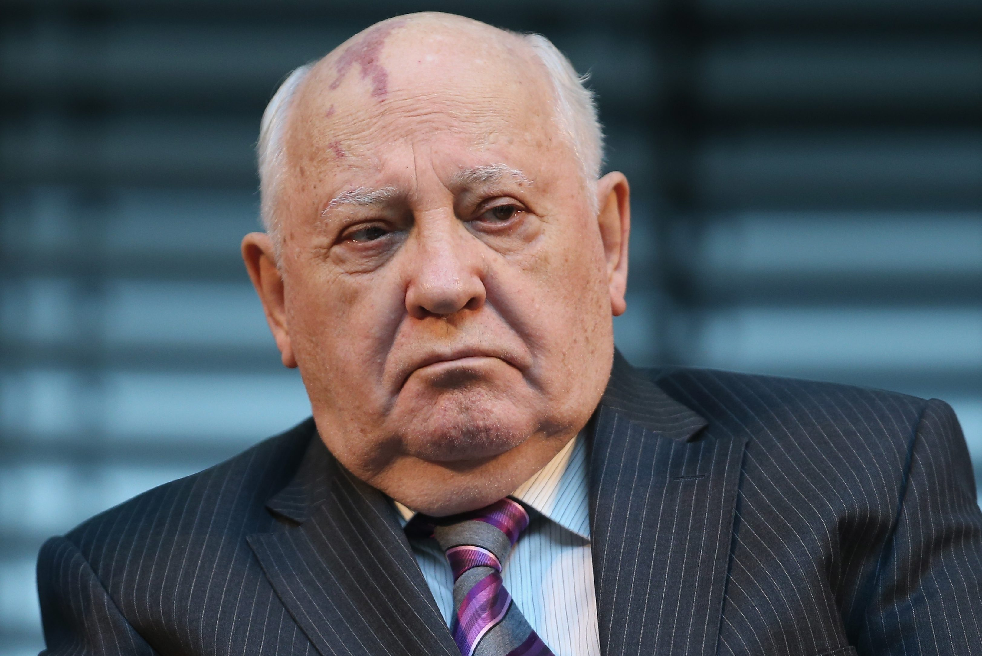 BERLIN, GERMANY - NOVEMBER 08:  Former Soviet leader Mikhail Gorbachev attends a podium discussion on the eve of the 25th anniversary of the fall of the Berlin Wall on November 8, 2014 in Berlin, Germany. Gorbachev's liberalization of the political climate within the Cold War-era eastern Bloc allowed for mass demonstrations and ultimately the overthrow of communist dictatorships across the region. Germany will celebrate the 25th anniversary of the fall of the Berlin Wall on November 9 with a 15km light installation that runs along the course of the former Wall that once divided Berlin into communist East and capitalist West.  (Photo by Sean Gallup/Getty Images)