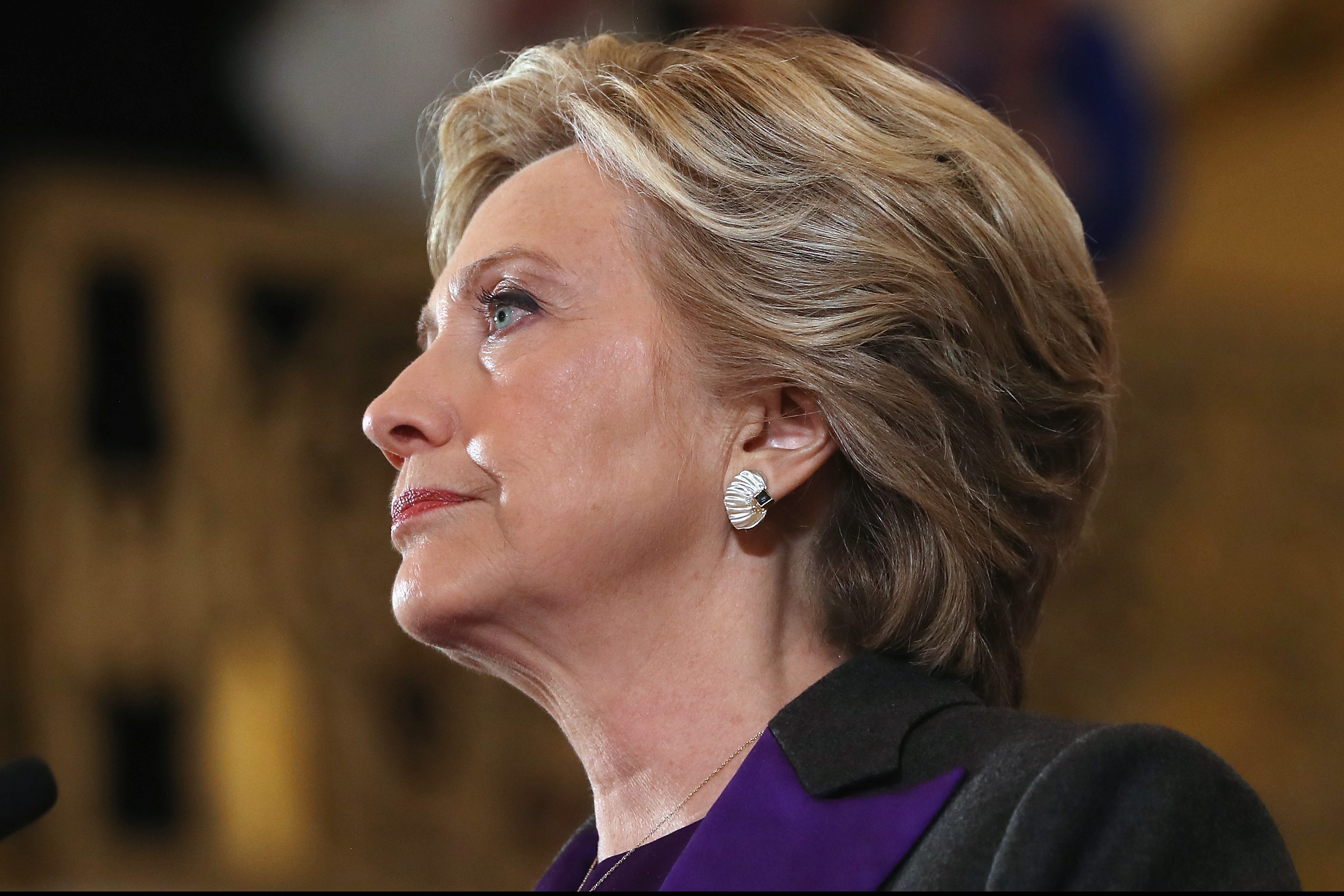NEW YORK, NY - NOVEMBER 09:  Former Secretary of State Hillary Clinton concedes the presidential election at the New Yorker Hotel on November 9, 2016 in New York City. Republican candidate Donald Trump won the 2016 presidential election in the early hours of the morning in a widely unforeseen upset.  (Photo by Justin Sullivan/Getty Images)