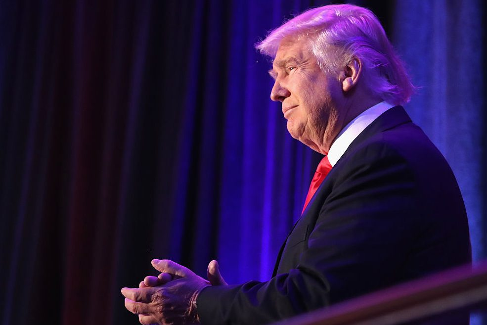 NEW YORK, NY - NOVEMBER 09:  Republican president-elect Donald Trump acknowledges the crowd during his election night event at the New York Hilton Midtown in the early morning hours of November 9, 2016 in New York City. Donald Trump defeated Democratic presidential nominee Hillary Clinton to become the 45th president of the United States.  (Photo by Joe Raedle/Getty Images)