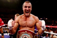 CARDIFF, WALES - AUGUST 17:  Sergey Kovalev celebrates his victory over Nathan Cleverly during the WBO World Light-Heavyweight Championship bout at Motorpoint Arena on August 17, 2013 in Cardiff, Wales.  (Photo by Scott Heavey/Getty Images)