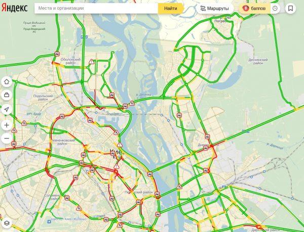 Пробки в Киеве достигли 8 баллов (КАРТА)