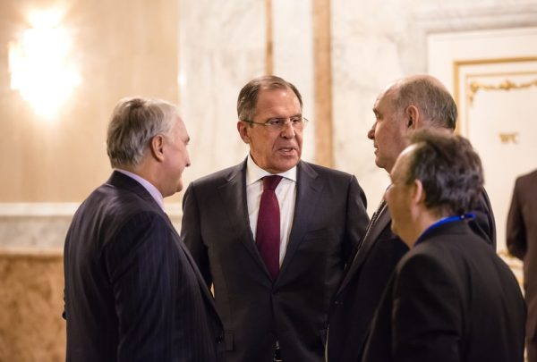 36545722 - minsk, belarus - feb 12, 2015: russian foreign minister sergei lavrov after the negotiations of leaders of states in normandy format in minsk