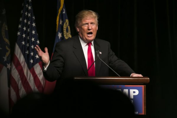 55986708 - 21 february 2016:  republican presidential candidate donald trump speaks to several thousand supporters at a rally in atlanta,  georgia.