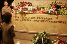 FILE =In this April 18, 2011 file picture the alabaster tomb of the late President Lech Kaczynski and his wife Maria Kaczynska who were killed, with 94 other prominent Poles, in a plane crash April 10,2010 in Smolensk, Russia. are seen in the vaults of Wawel Cathedral in Krakow, Poland,  The bodies of the presidential couple are being exhumed after dark on Monday, 14 November 2016, for examination on orders from the prosecutors, who are investigating the crash. Also remains of 81 other victims will be exhumed because findings from autopsies carried out in Russia are flawed and unreliable, prosecutors say. (AP Photo/Czarek Sokolowski)