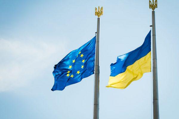 40635830 - flags of ukraine and eu