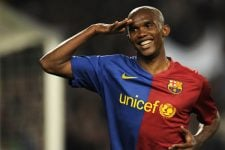 Barcelona's Cameroonian forward Samuel Eto´o celebrates after scoring during a Spanish League football match against Malaga on March 22, 2009 at the Camp Nou stadium in Barcelona. AFP PHOTO/LLUIS GENE (Photo credit should read LLUIS GENE/AFP/Getty Images)