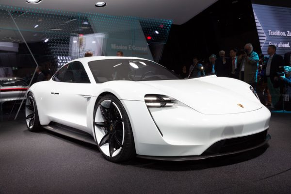 45848524 - frankfurt, germany - sep 16, 2015: porsche mission e concept reveiled at the iaa 2015.