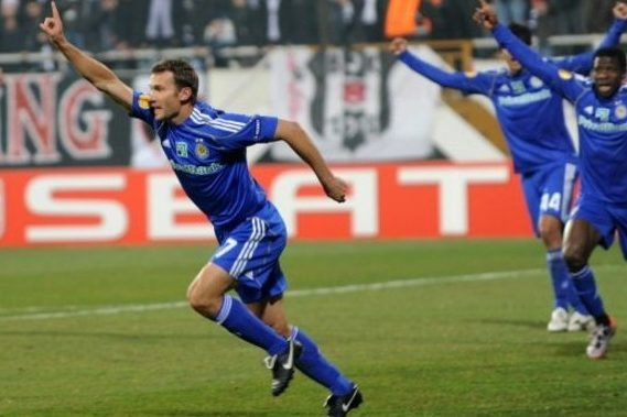 Dynamo Kyiv's Andriy Shevchenko(C) celebrates after scoring during their Europa League match against Besiktas, at Inonu Stadium on February 17, 2011 in Istanbul. AFP PHOTO/BULENT KILIC
