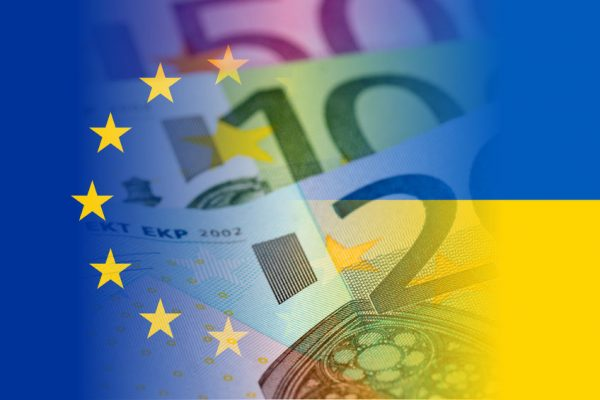 58631806 - eu and ukraine flag with euro banknotes mixed image