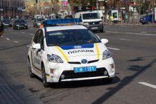 55206252 - kiev, ukraine - september 19, 2015: ukrainian police patrol car on the street khreshchatyk