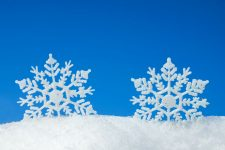 50030770 - christmas background with two decorative snowflakes in snow