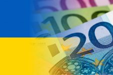 58631797 - ukraine flag with euro banknotes mixed image