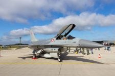 38087925 - laage, germany - aug 23, 2014: royal danish air force f-16 on display at the laage airbase open house. the danish air force will decide mid-2015 which fighter will replace their f-16