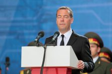 50975290 - kubinka, moscow oblast, russia - jun 19, 2015: the prime minister of russia dmitry medvedev with his eyes closed at the closing ceremony of the international military-technical forum army-2015 in military-patriotic park