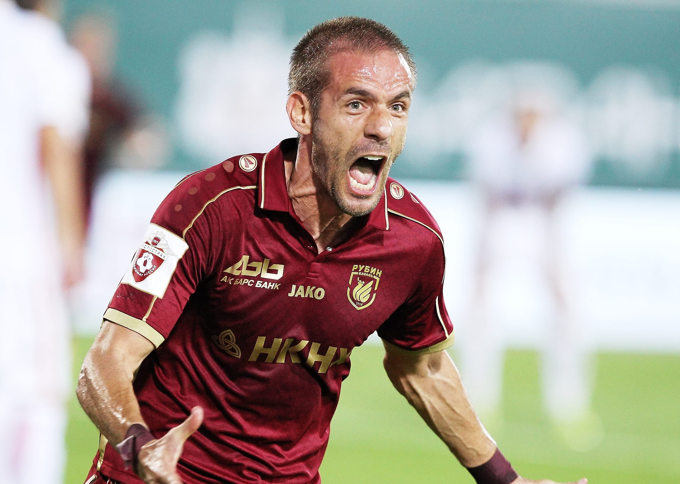 KAZAN, RUSSIA - AUGUST 13: Marko Devic of FC Rubin Kazan celebrates the goal during the Russian Premier League match between FC Rubin Kazan  and FC Spartak Moscow at Tsentralny stadium on August 13, 2016 in Kazan, Russia. (Photo by Epsilon/Getty Images)