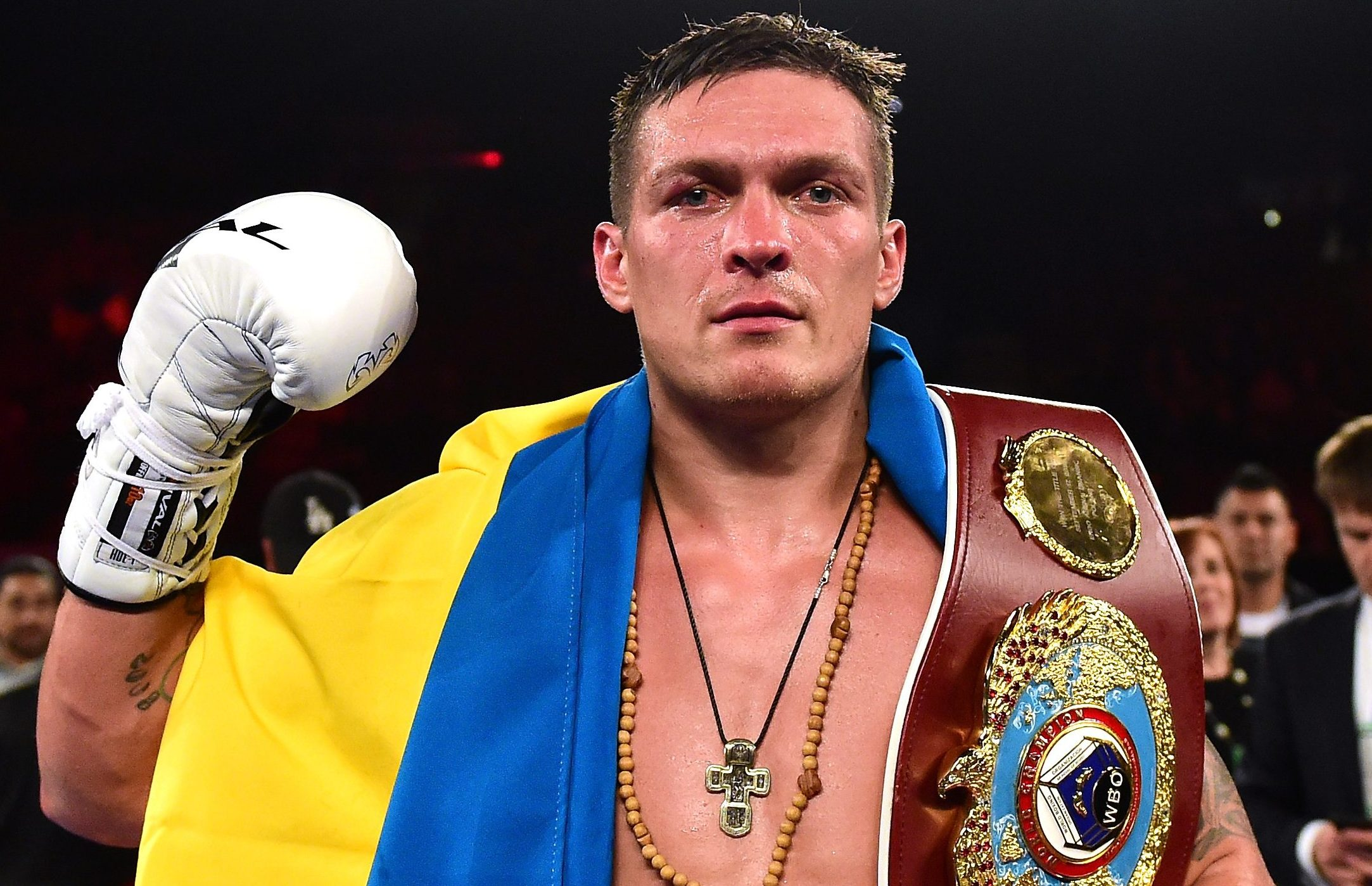 INGLEWOOD, CA - DECEMBER 17:  Oleksandr Usyk of the Ukraine poses with his belt after beating Thabiso Mchunu of South Africa to win the WBO Cruiserweight title at The Forum on December 17, 2016 in Inglewood, California.  (Photo by Harry How/Getty Images)