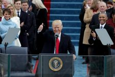 WASHINGTON, DC - JANUARY 20: President Donald Trump gives a thumbs up after his inauguration on the West Front of the U.S. Capitol on January 20, 2017 in Washington, DC. In today's inauguration ceremony Donald J. Trump becomes the 45th president of the United States.  (Photo by Alex Wong/Getty Images)