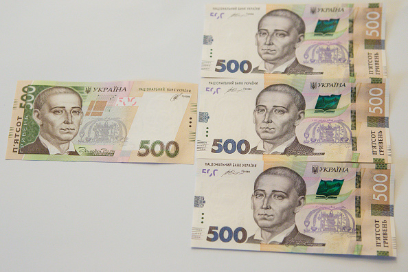 Briefing by the the National Bank of Ukraine, on the occasion of the issuance of new notes of 500 hryvnia, sample 2015, in Kiev, Ukraine, on April 11, 2016. The new bill is better reserved against counterfeiting, in Kiev, Ukraine, on April 11, 2016. In its first manufacturing flax fiber used, in Kiev, Ukraine, on April 11, 2016. (Photo by Oleg Pereverzev/NurPhoto via Getty Images)