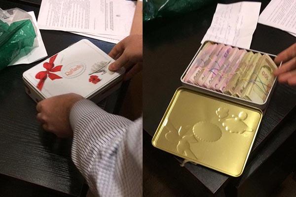 Заступнику прокурора Київської області передали хабар укоробці Raffaello