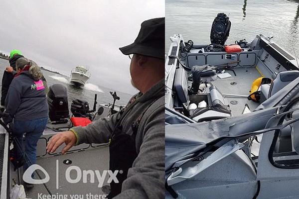 Рыболовы успели спрыгнуть вледяную воду засекунду достолкновения скатером