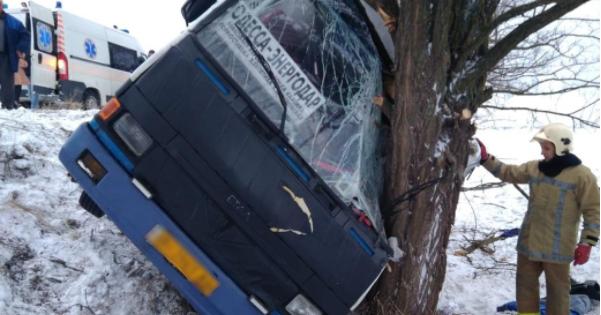 На Херсонщині автобус злетів із дороги і врізався у дерево