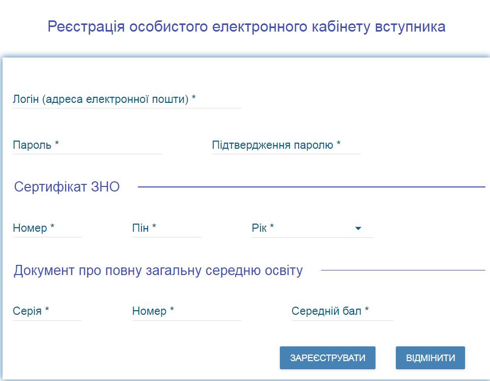 Реєстрація електронного кабінету абітурієнта – покрокова інструкція