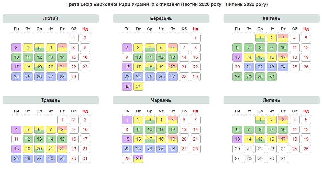 Календар роботи Верховної Ради