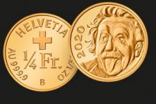 С портретом Эйнштейна: в Швейцарии выпустили самую маленькую в мире монету