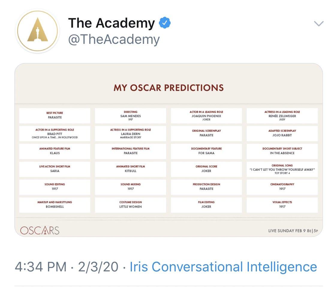 Оскар 2020: Киноакадемия случайно слила список победителей Оскар 2020