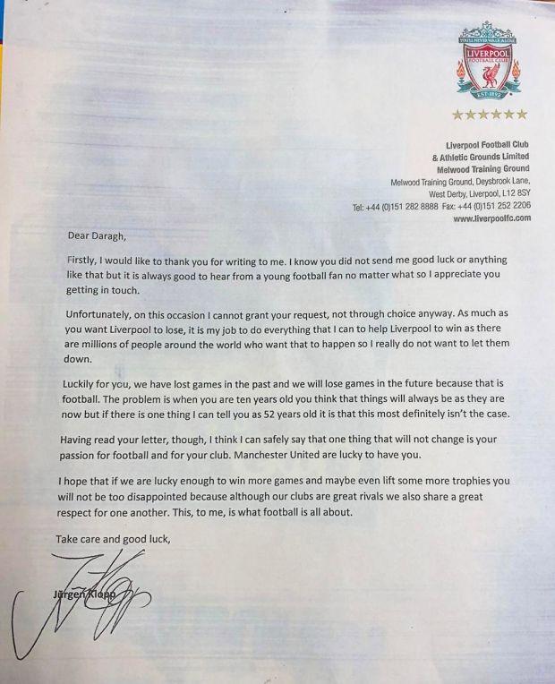 Юрген Клопп написал письмо 10-летнему фанату МЮ, который попросил Ливерпуль проиграть