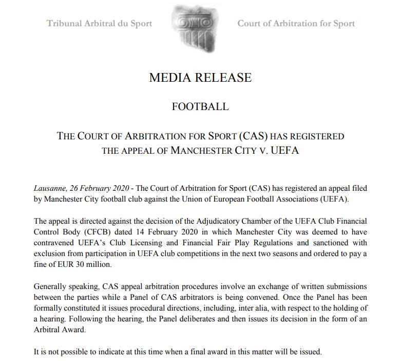 Манчестер Сити подал апелляцию в CAS на решение УЕФА о дисквалификации