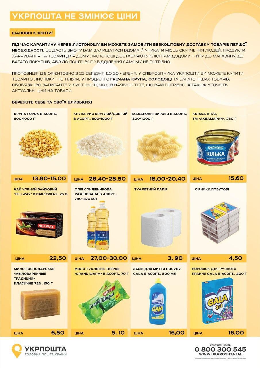Список і ціни на продукти і товари, які безкоштовно доставляє Укрпошта
